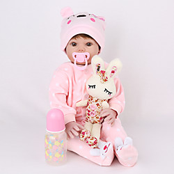 NPK DOLL 22 inch Reborn Doll Reborn Toddler Doll Baby Girl lifelike Safety Gift Cute Education Cloth 3/4 Silicone Limbs and Cotton Filled Body with Clothes and Accessories for Girls' Birthday and Lightinthebox