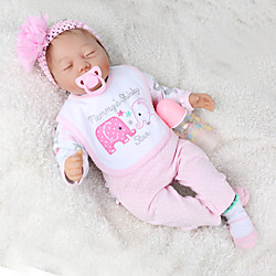 NPKCOLLECTION 22 inch Reborn Doll Baby Toddler Toy Reborn Toddler Doll Baby Boy Baby Girl Gift Cute Lovely Parent-Child Interaction Tipped and Sealed Nails Cloth 3/4 Silicone Limbs and Cotton Lightinthebox